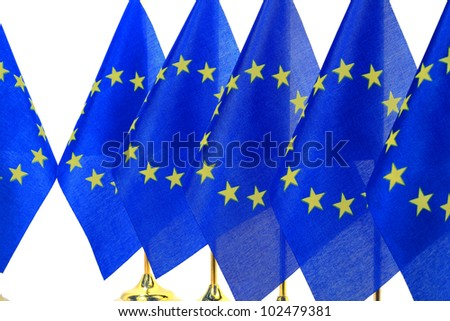 flags queue of  European Union,Isolated on the white background - stock photo