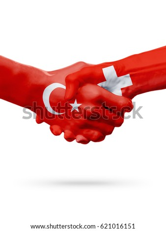 Flags Republic of Turkey, Switzerland countries, handshake cooperation, partnership, friendship or sports team competition concept, isolated on white