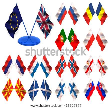 Flags. russia, romania, portugal, poland, montenegro, norway, netherland, holland, ireland, macedonia, scotland, north, finland, slovakia - stock photo
