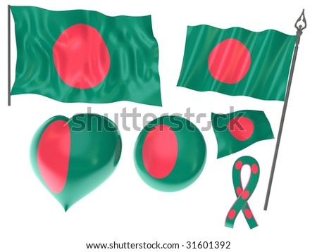Flags set of Bangladesh, Dhaka - stock photo