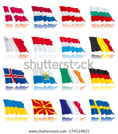 Flags set of world nations 2. Denmark, Netherlands, Bulgaria, Austria, Sweden, France, Germany, Belgium, Ireland, Luxembourg, Malta, Iceland, Macedonia, Monaco,  Ukraine. - stock photo