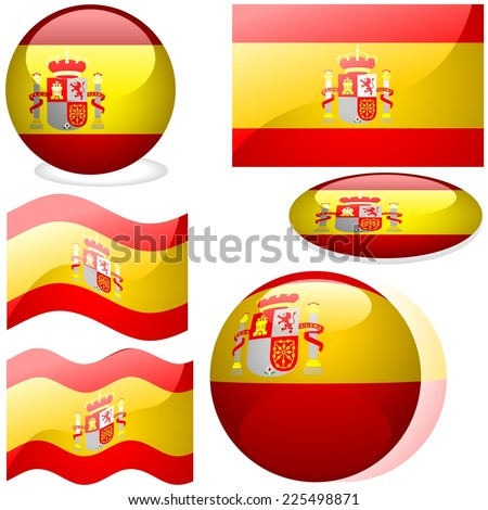 Flags Spain - Colored Illustration - stock photo