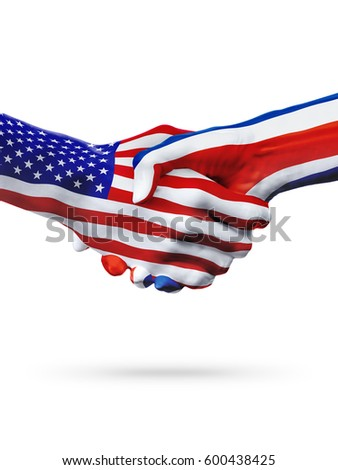 Flags United States and Costa Rica countries, handshake cooperation, partnership and friendship or sports competition isolated on white