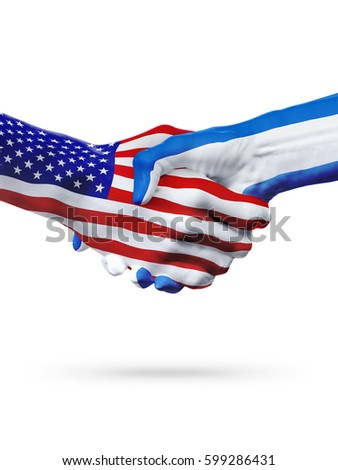 Flags United States and El Salvador countries, handshake cooperation, partnership and friendship or sports competition isolated on white