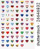 flags with heart sign - stock photo