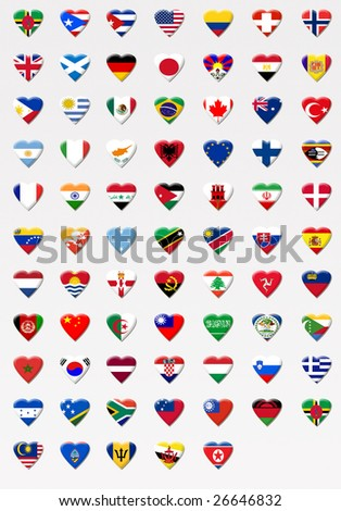 flags with heart sign