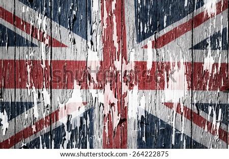 Flaking paint boards Union Jack flag  - stock photo
