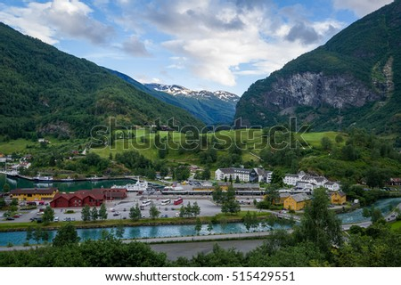 Flam - popular touristic destination, railway station and cruise port. Norway.