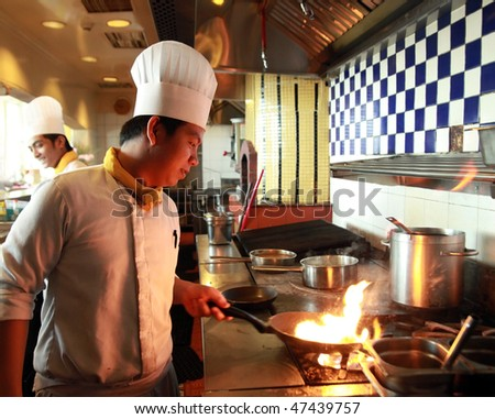 flambe cooking - stock photo