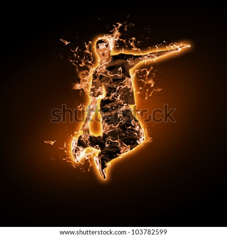 Flame and fire dancer against black background - stock photo