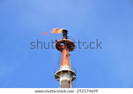 flame at petrochemical industry - stock photo