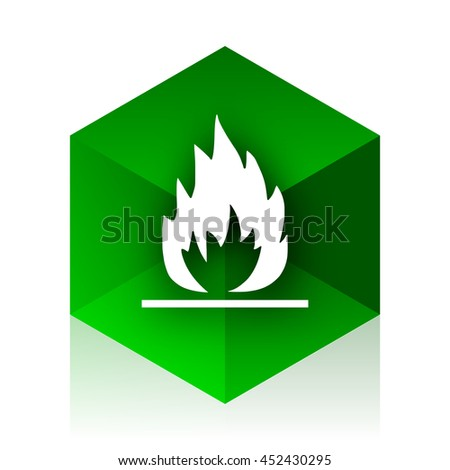flame cube icon, green modern design web element - stock photo