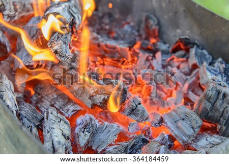 Flame, Fire - Natural Phenomenon, Coal, Bonfire, Log Fire - stock photo