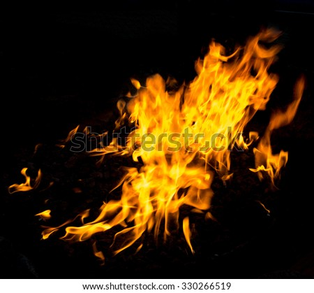 Flame,fire on black background ,real. - stock photo