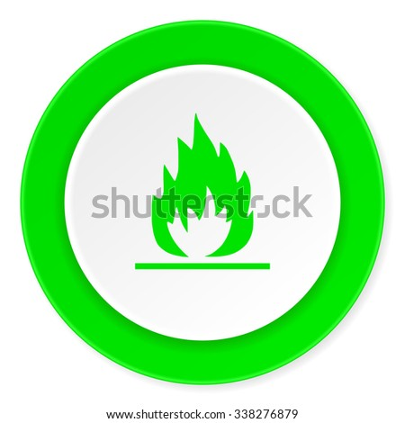 flame green fresh circle 3d modern flat design icon on white background  - stock photo