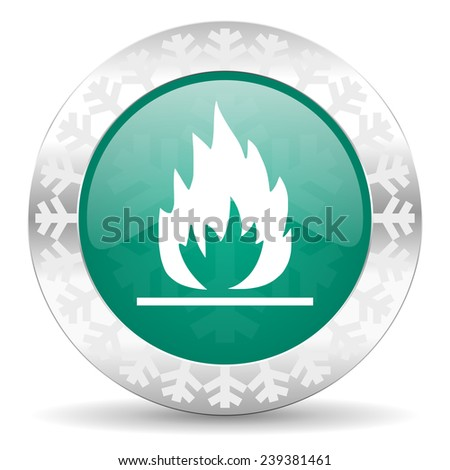 flame green icon, christmas button  - stock photo