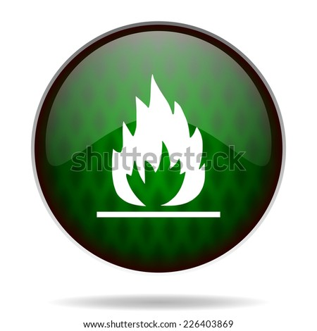 flame green internet icon  - stock photo