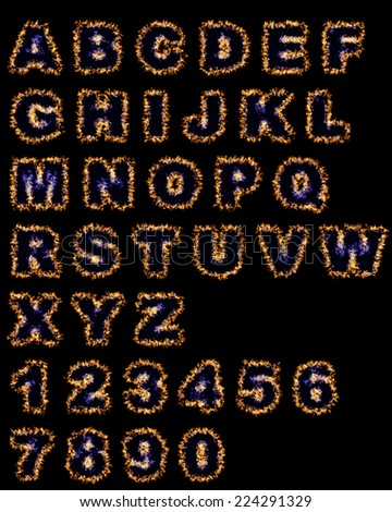 flame hot fonts on black background - stock photo