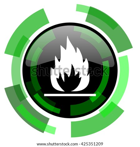 flame icon, green modern design glossy round button, web and mobile app design illustration - stock photo