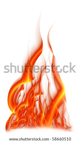 Flame isolated on a white background - stock photo