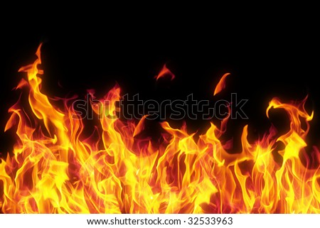 flame isolated over black background - stock photo