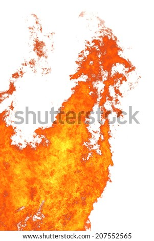 flame isolated over white background