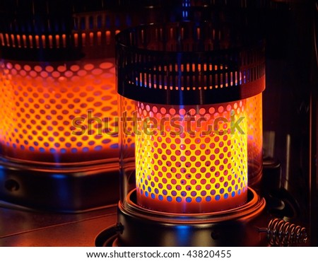 flame of a paraffin heater - stock photo
