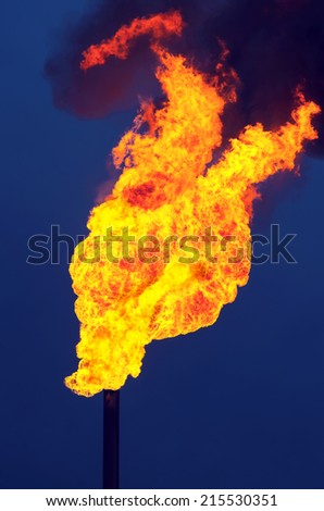 Flame of an oil torch against the dark sky - stock photo
