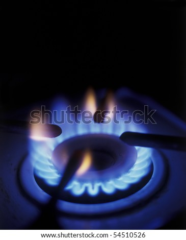 Flame of burner of gas stove - stock photo