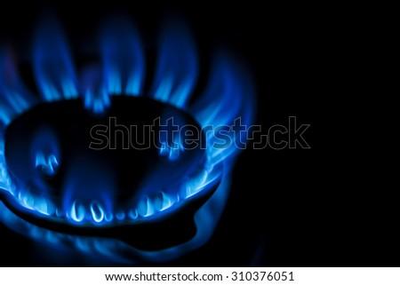 flame of kitchen gas stove - stock photo