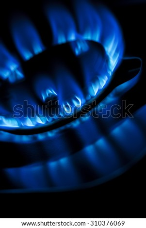 flame of kitchen gas stove