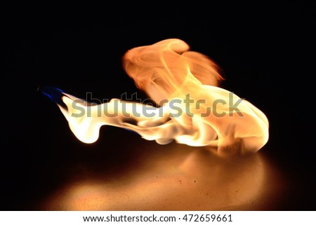 Flame on a metall