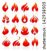 Flame redish, set icons with reflection on white background. Vector version (eps) also available in gallery - stock vector