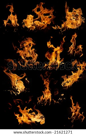 Flame samples, real photos - stock photo