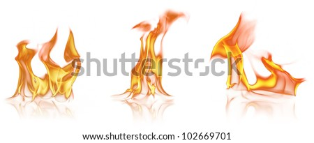 Flame tongues, isolated on white background - stock photo