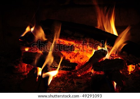 flame with the black background 