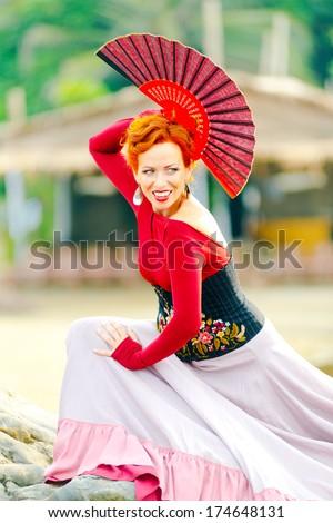 Flamenco Carmen beautiful woman  flamenco dancer - stock photo