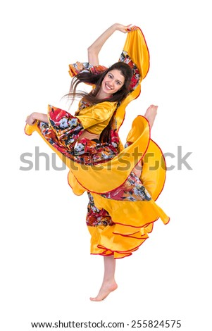 Flamenco dancer  woman jumping, isolated on white in full length - stock photo