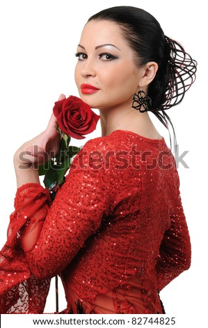 Flamenco style girl with a rose  isolated on white background - stock photo