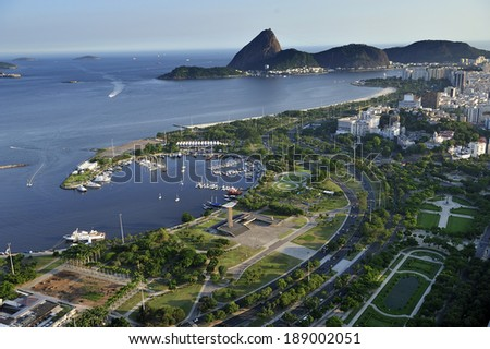 Flamengo Park is situated along the shore of Guanabara Bay, extends from Santos Dumont airport to the beginning of Botafogo Beach, Rio de Janeiro, Brazil - stock photo
