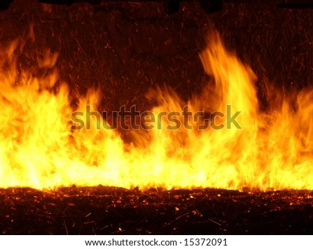 Flames and fire on a grate in a power plant