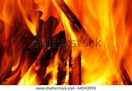 flames and wood
