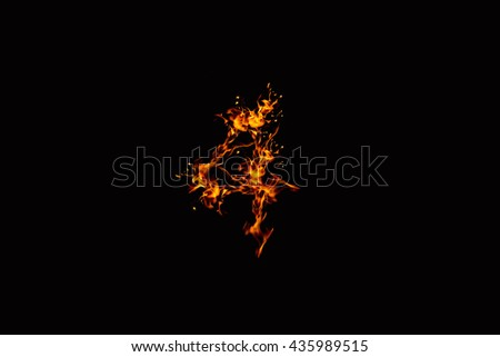 flames from Digits on a black background, not interested the focus.abstract style.Concept Design Ideas.four