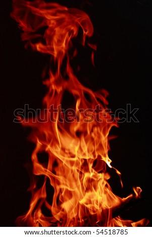 flames of burning woods - stock photo