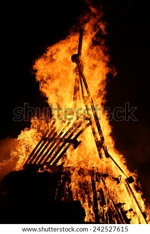 flames of fire during a scary fire of a dwelling - stock photo