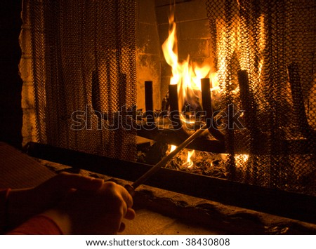 Flames of Fire in a fireplace. - stock photo