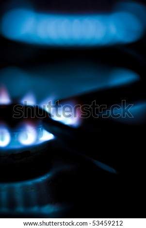 Flames of gas stove - stock photo