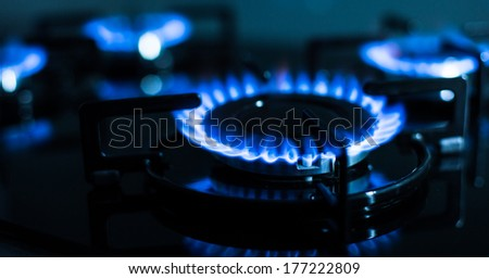 FLames of gas stove (shallow DOF)