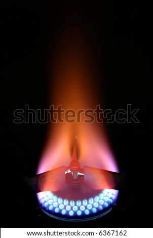 Flames of Laboratory gas stove - stock photo
