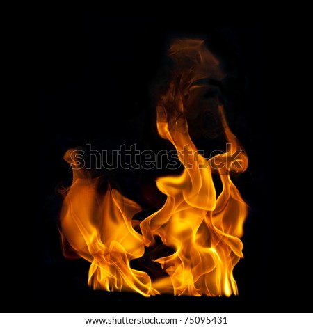 Flames on Black Photographic Background - stock photo